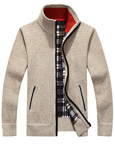Yeokou Mens Casual Slim Fit Full Zip Thick Knit Cardigan Sweaters with Pockets