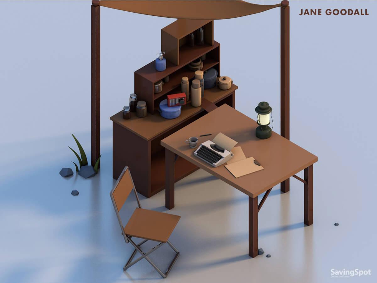 Jane Goodall 's desk