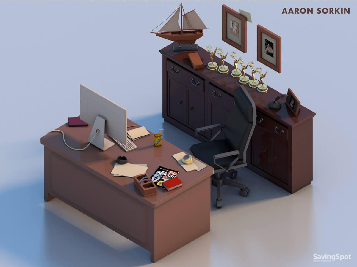 Aaron Sorkin's desk