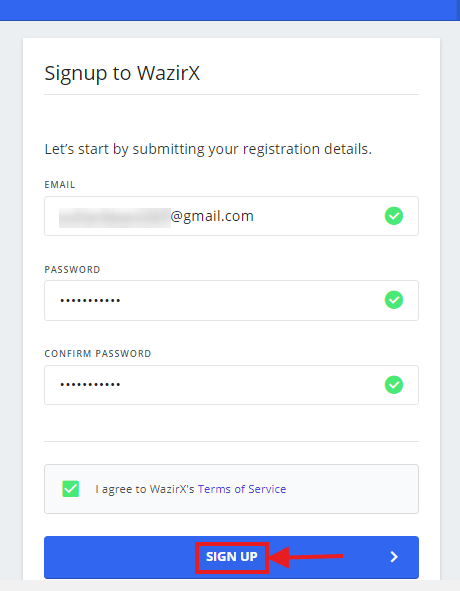 Fill Details to Start Creating WazirX Account