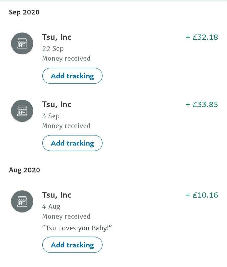 Paypal Tsu payment proof