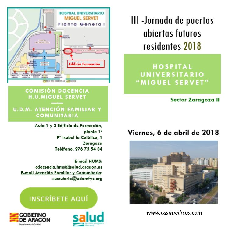 III Jornada de Puertas Abiertas para futuros residentes 2018 H.U.Miguel Servet @ Hospital Universitario Miguel Servet   Zaragoza   Aragón   Spain