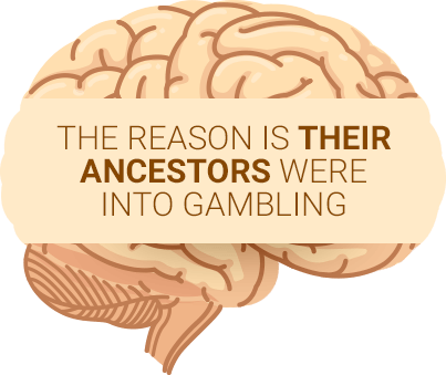 Yellow brain saying gambling addicts inherit issues from ancestors
