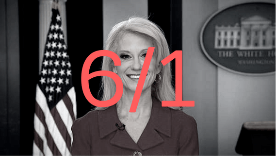 black and white photo of Conway with odds over her firing