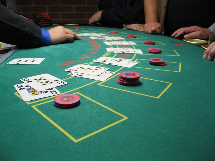 Action from a blackjack table