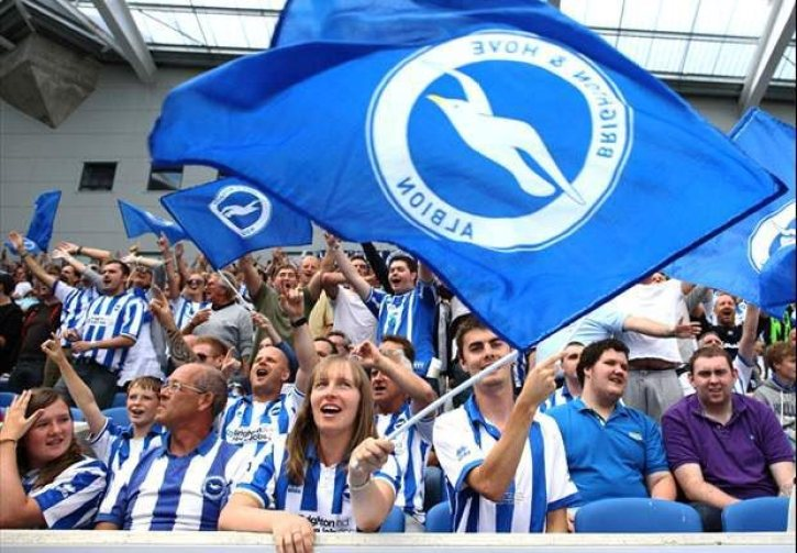 An image of Brighton & Hove Albion fans for the first time in the Premier League