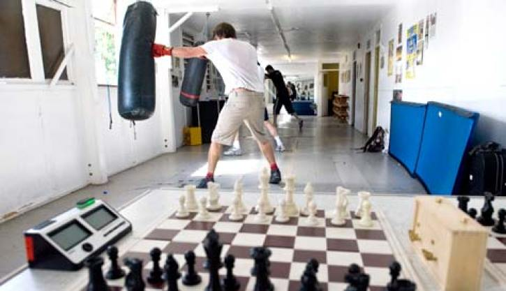 A fighter training for Chess Boxing