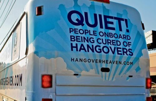 Hangover Heaven bus with a blue and white background