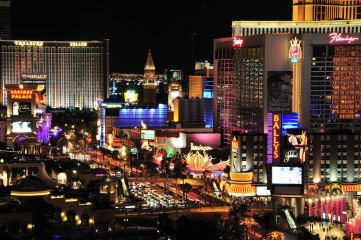 A photo of the Las Vegas strip, home of some of the most popular casinos