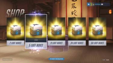 In-game loot box purchase options