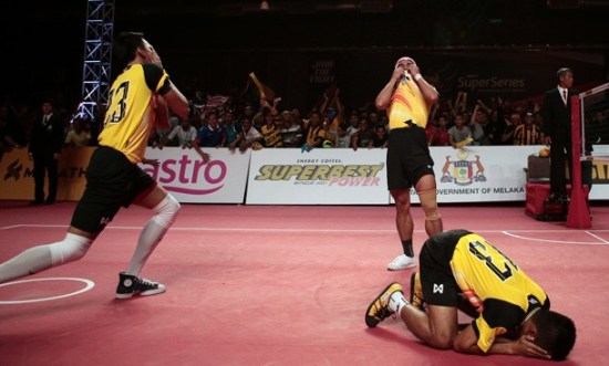 Players celebrating a victory in a major Sepak Takraw competition