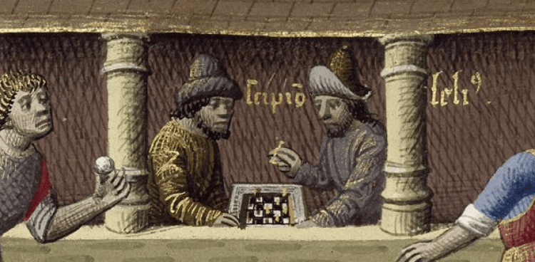 An image of people playing chess during medieval times