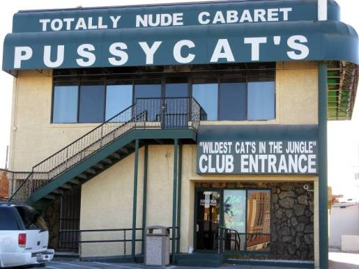 facade of pussycat's club in Vegas