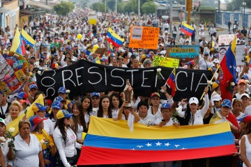 A protest in Venezuela at the country's failing economy