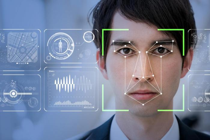 man with facial recognition software