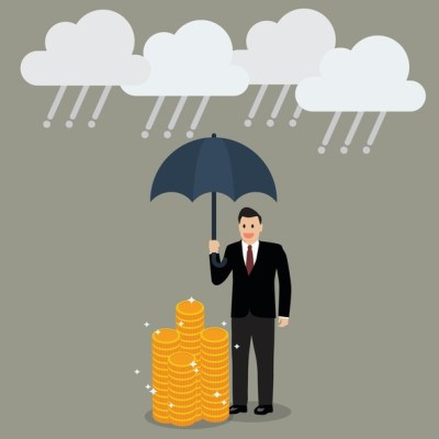 illustration of guy standing in rain with cash