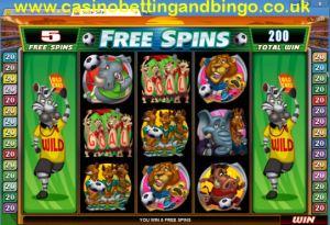 Soccer Safari Free Spins Screen