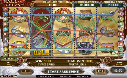 Hall of Gods Free Spins Round
