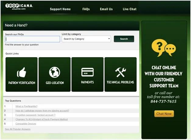 Tropicana online support