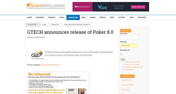 GTECH G2 Poker Tournament