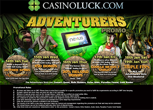 CasinoLuck's Adventurers Promotion with Free Spins, Tablet and FFPs
