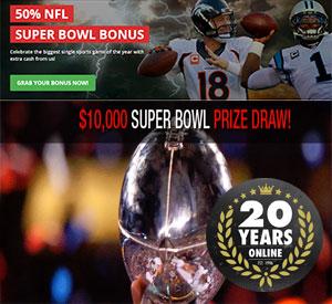 Intertops $10K Super Bowl Prize Draw Free Bets