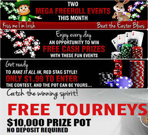 Red Stag Daily Freerolls, Plus $2500 Casino Sign Up Bonus