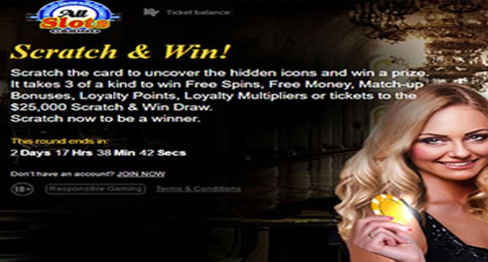 Scratch & Win at Free Spins, Match Bonuses + 25K Draw