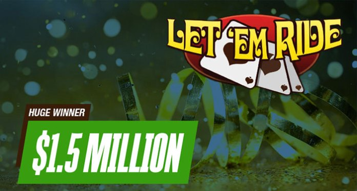 Royal Flush on Let 'Em Ride at Cafe Casino Pays $1.5 Million