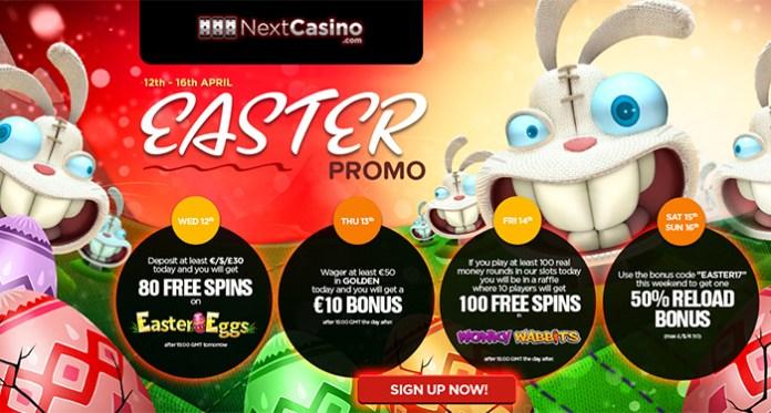 NextCasino's Eggstravagant Easer Bonus of Freebies, Fill Up on Freebies