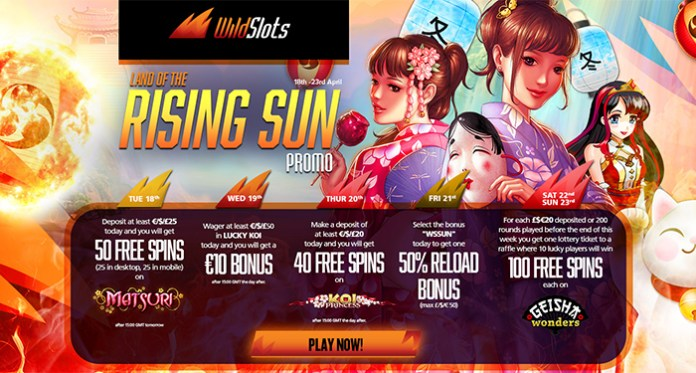 Wild Slots Land of the Rising Sun Free Spins and Bonus Reloads