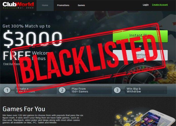 Club World Casino Group – Blacklisted