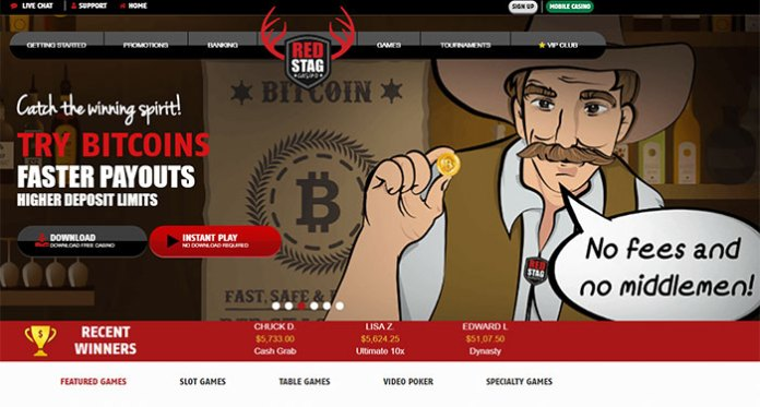 300% on First Three Deposits Using Bitcoins at Red Stag Casino