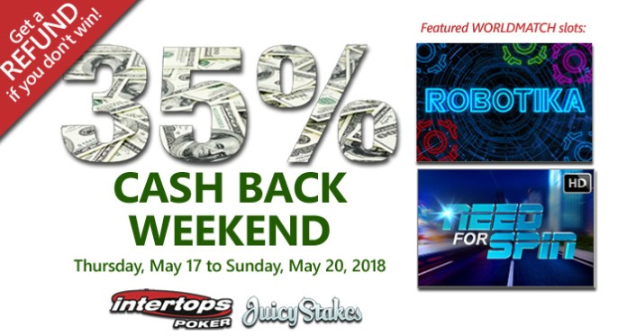 Worldmatch Cashback Weekend at Intertops Poker, 35% Refunds