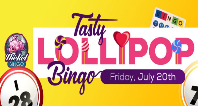 Sweet Tasting Bingo,Play for sweet tasting prizes in Downtown Bingo'sTasty Lollipop Bingogames with each game playing for only$0.05 a card!
