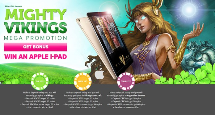 Win an Apple iPad in CasinoLuck's Mighty Vikings Promotion