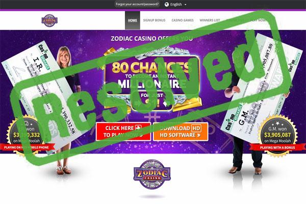 Zodiac Casino Complaint