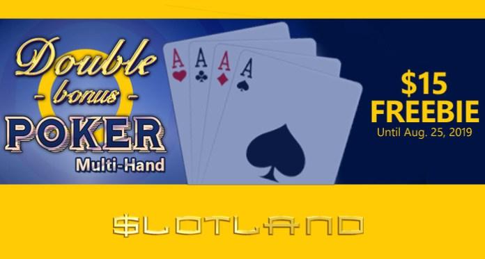 Play Slotland's New Double Bonus Poker Multi-hand Video Poker