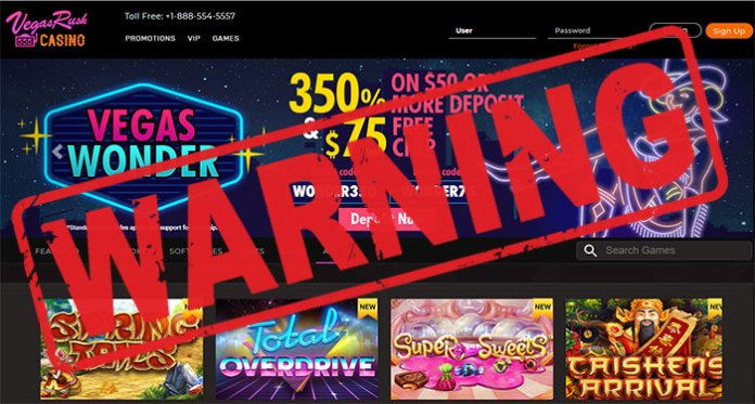 vegas rush casino scam