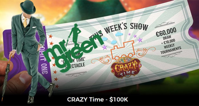 Play and Win in Mr Green Casinos $100K Crazy Time Giveaway