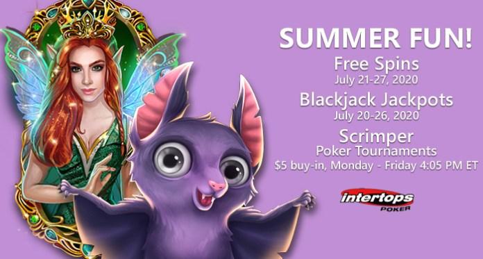Free Spins, Blackjack Jackpots & New $5 Poker Tournament at Intertops