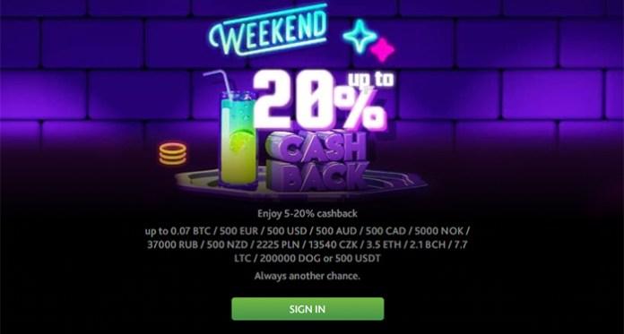 Enjoy Up to 20% Weekend Cashback When You Play 7Bit Casino