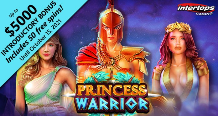 Intertops Casino 50 Free Spins on Action-Packed New Princess Warrior Slot