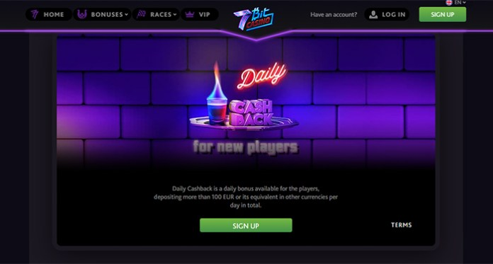 New Players Receive Daily Cashbacks at 7Bit Casino!