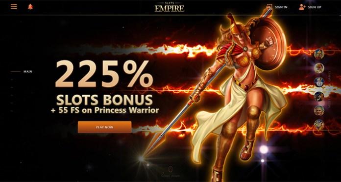 225% SLOTS BONUS + 55 FS on Princess Warrior at Slots Empire