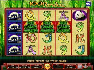 Screenshot image of the free games awarded in 100 Pandas slots
