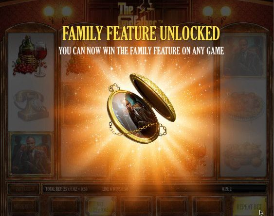 Screenshot image of the Family Feature unlocked in Godfather slots