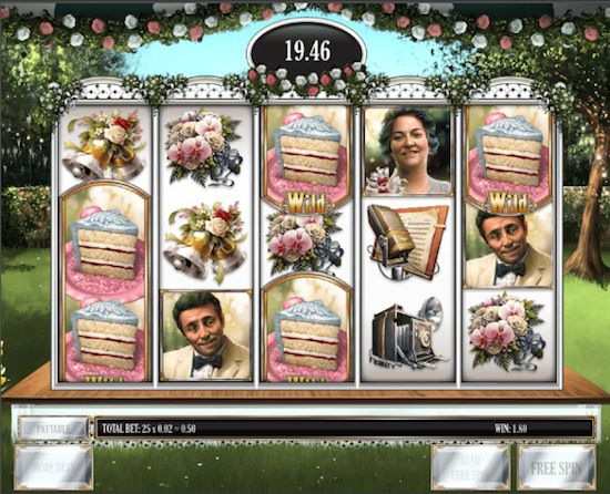 Screenshot image of the Godfather slots Cake feature win