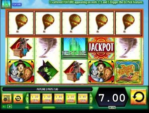Screenshot image showing a 5 of a kind win on Wizard of Oz slot