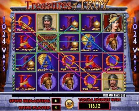 Screenshot image of Free spins bonus game in Treasures of Troy